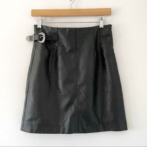Free People Faux Leather Buckle Mini Skirt